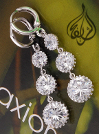 Rhodium-plated  Earring with CZ Stones [ERNG-100]